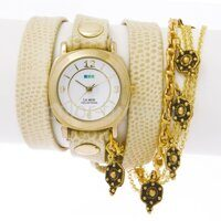 Наручные часы La Mer Collection Katmandu Chain-Creme Python/Gold